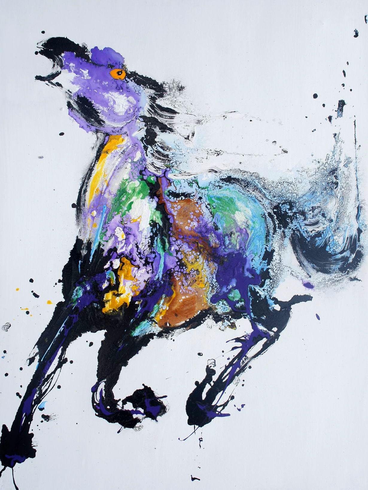 Tableau peinture cheval moderne frison est une peinture contemporaine