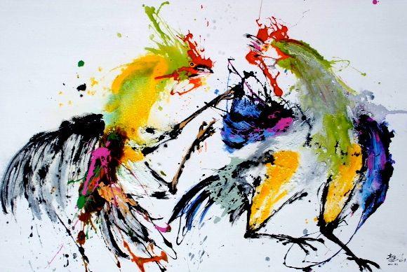 qunce-zeng-artiste-peinture-le-combat-de-coqs-attaque-galerie-art-contemporain-jean-jacques-rio-auray-golfe-du-morbihan-bretagne-1.jpg
